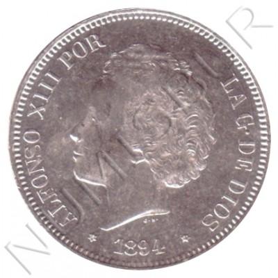 5 pesetas ESPAÑA 1894 - Alfonso XIII