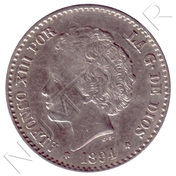 50 centimos ESPAÑA 1894 - Alfonso XIII *9* *4* PG.V