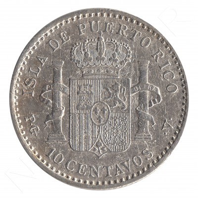 10 centavos peso ESPAÑA 1896 - Alfonso XIII PUERTO RICO #49