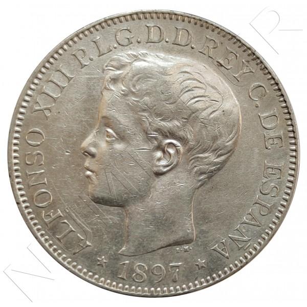 1 peso FILIPINAS 1897 - Alfonso XIII Manila