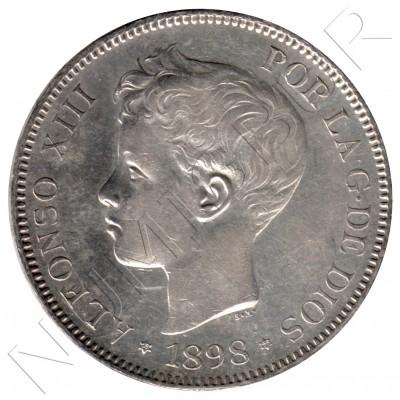 5 pesetas ESPAÑA 1898 - Alfonso XIII *98* SG.V