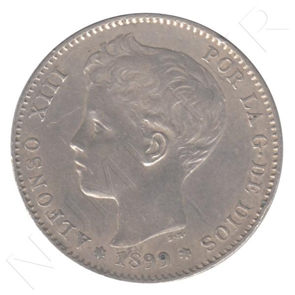 1 peseta ESPAÑA 1899 - Alfonso XIII *99*