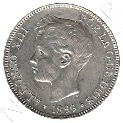 5 pesetas ESPAÑA 1899 - Alfonso XIII *99* SG.V
