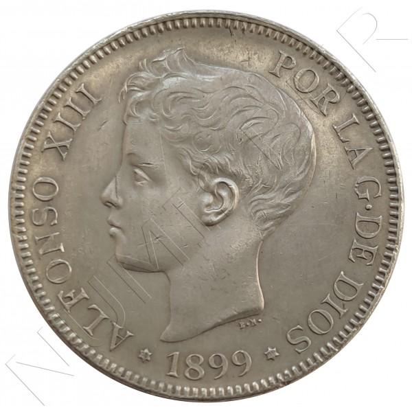 5 pesetas SPAIN 1899 - Alfonso XIII *99*SG .V.