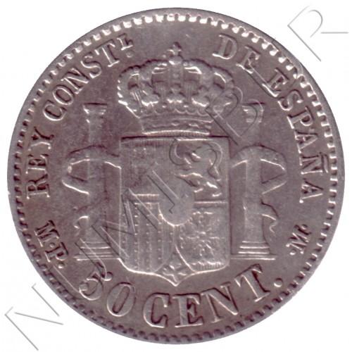 50 centimos ESPAÑA 1889 - Alfonso XIII *8* *9*