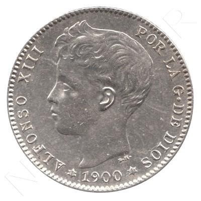 1 peseta ESPAÑA 1900 - Alfonso XIII *19* *00* #41