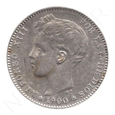 1 peseta ESPAÑA 1900 - Alfonso XIII *19* *00* #39