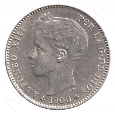 1 peseta ESPAÑA 1900 - Alfonso XIII *19* *00* #40