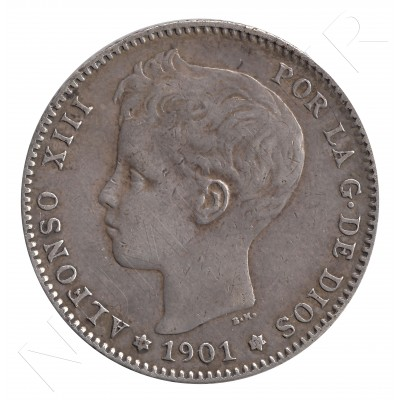 1 peseta ESPAÑA 1901 - Alfonso XIII *19* *01* #35