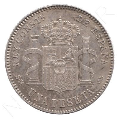1 peseta ESPAÑA 1901 - Alfonso XIII *19* *01* #37