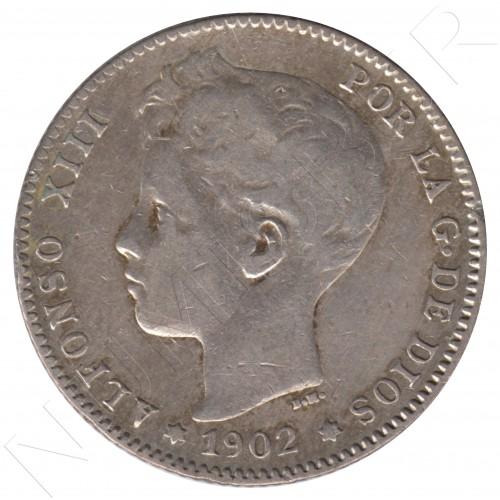 1 peseta ESPAÑA 1902 - Alfonso XIII *02*