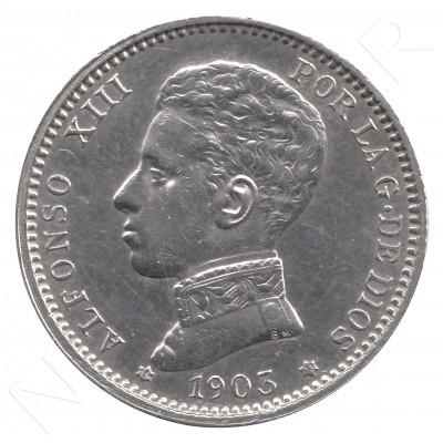 1 peseta SPAIN 1903 - Alfonso XIII *19* *03* #36
