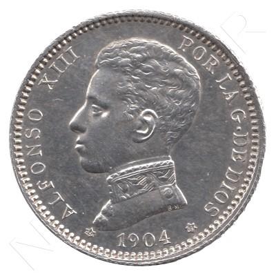 1 peseta SPAIN 1904 - Alfonso XIII *19* *04* #38
