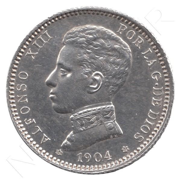 1 peseta ESPAÑA 1904 - Alfonso XIII *19* *04* VARIANTE Ø #38