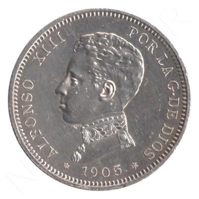 2 pesetas SPAIN 1905 - Alfonso XIII *19* *05* #102