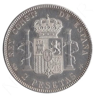 2 pesetas ESPAÑA 1905 - Alfonso XIII *19* *05* #102