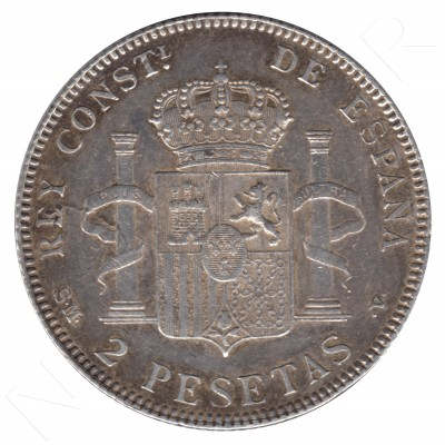 2 pesetas SPAIN 1905 - Alfonso XIII *19* *05* #82