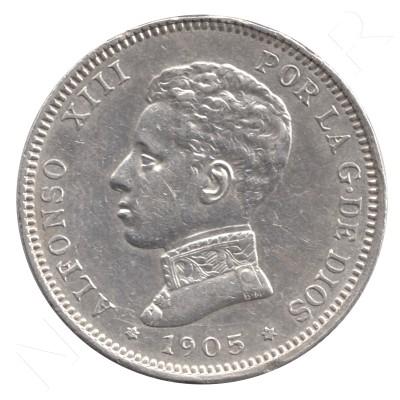 2 pesetas SPAIN 1905 - Alfonso XIII *19* *05* #84