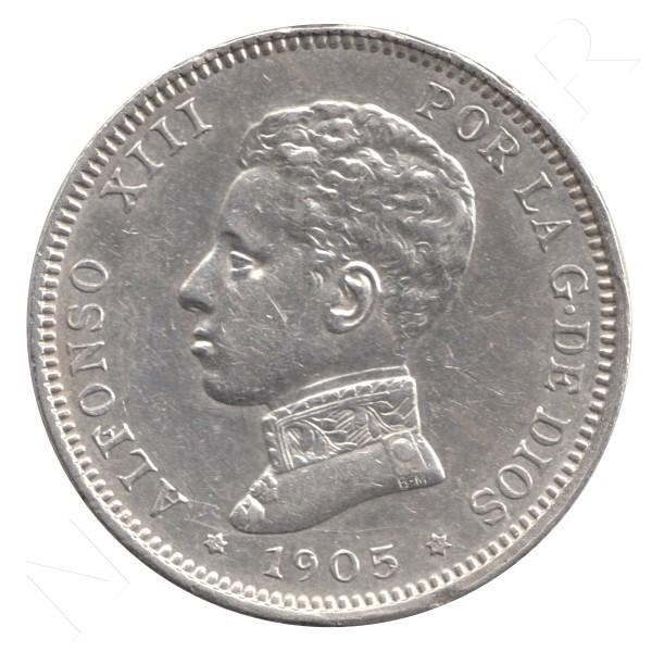 2 pesetas ESPAÑA 1905 - Alfonso XIII *19* *05* #84