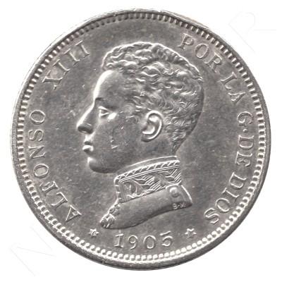 2 pesetas SPAIN 1905 - Alfonso XIII *19* *05* #81