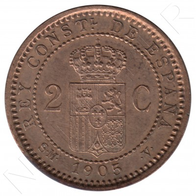 2 cents SPAIN 1905 - Alfonso XIII SM. V *05*