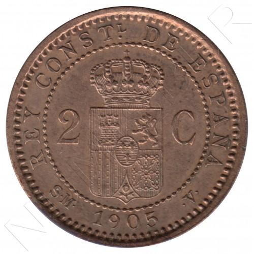 2 centimos ESPAÑA 1905 - Alfonso XIII SM. V *05*
