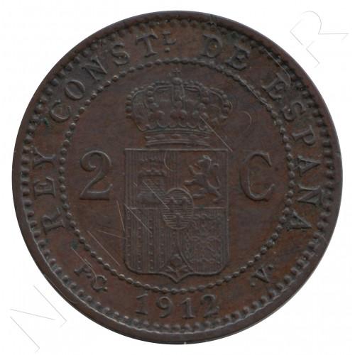 2 centimos ESPAÑA 1912 - Alfonso XIII PC. V *12*