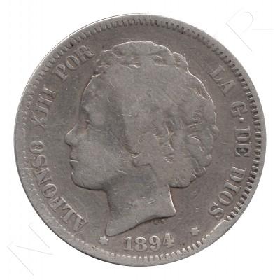 2 pesetas ESPAÑA 1894 - Alfonso XIII (MUY RARA) #42
