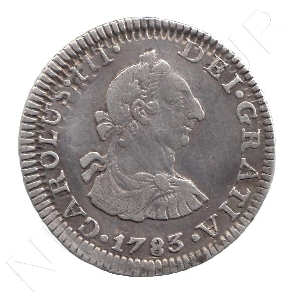 1/2 Real ESPAÑA 1783 - Carlos III MEXICO FF