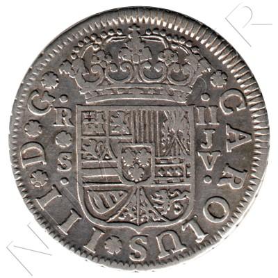 2 reales SPAIN 1761 - Carlos III Sevilla JV