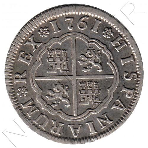 2 reales ESPAÑA 1761 - Carlos III Sevilla JV