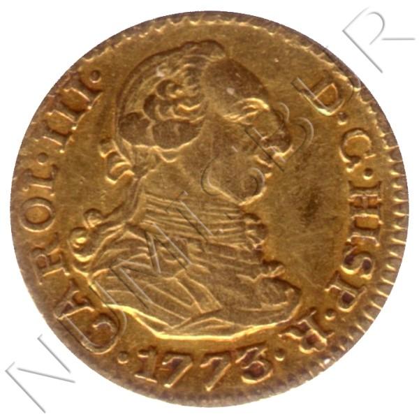 1/2 escudo ESPAÑA 1773 - Carlos III MADRID PJ (Variante fecha rectificada)