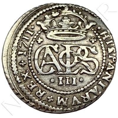 """2 reales SPAIN 1711 - Barcelona (Carlos III """"El pretendiente"""")"""