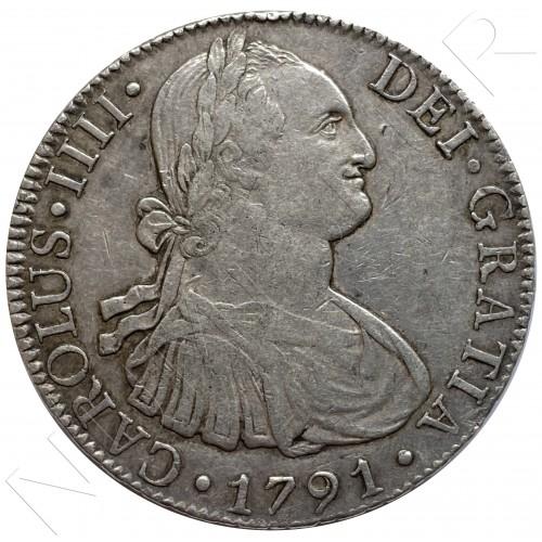 8 reales SPAIN 1791 - F.M. Mexico (Carlos IV)
