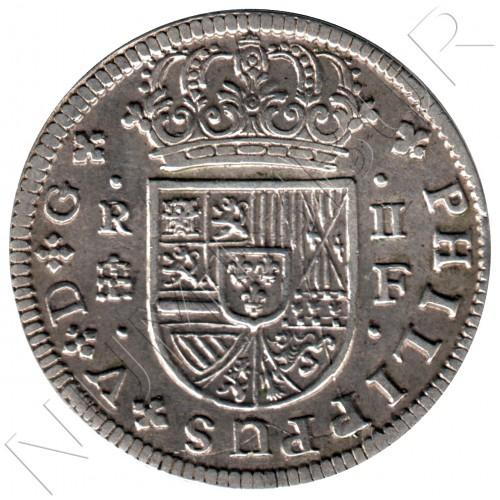 2 reales ESPAÑA 1721 - Felipe V Segovia F