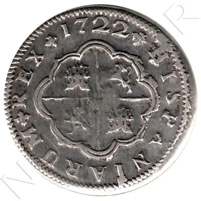 2 reales ESPAÑA 1722 - Felipe V Sevilla J