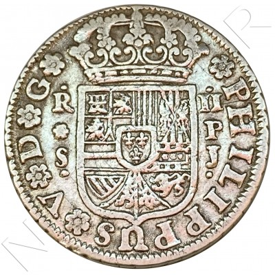 2 reales SPAIN 1737 - Felipe V Sevilla PJ