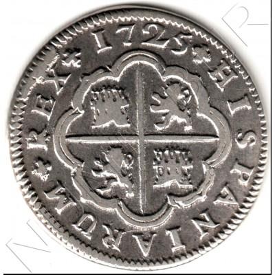 2 reales ESPAÑA 1725 - Felipe V Sevilla J