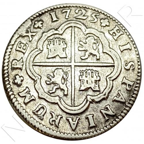 2 reales SPAIN 1725 - Sevilla J (Felipe V)