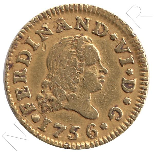 1/2 escudo ESPAÑA 1756 - Fernando VI MADRID JB