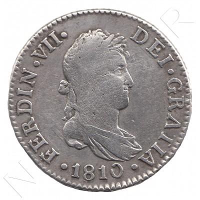 2 reales ESPAÑA 1810 - Fernando VII CADIZ #14