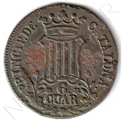 6 cuartos SPAIN 1837 - Cataluna Queen Isabel II