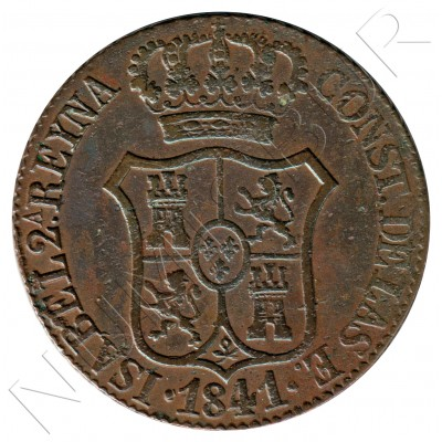 6 cuartos SPAIN 1841 - Cataluna Queen Isabel II