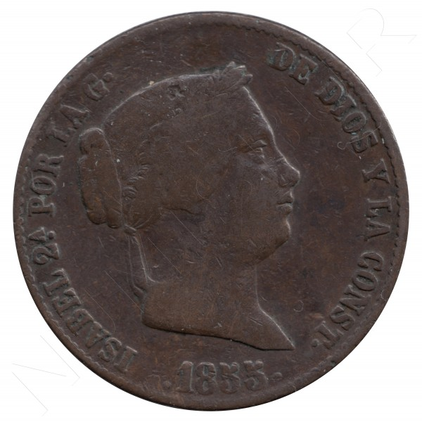 25 centimos de real ESPAÑA 1855 - Isabel II SEGOVIA #99