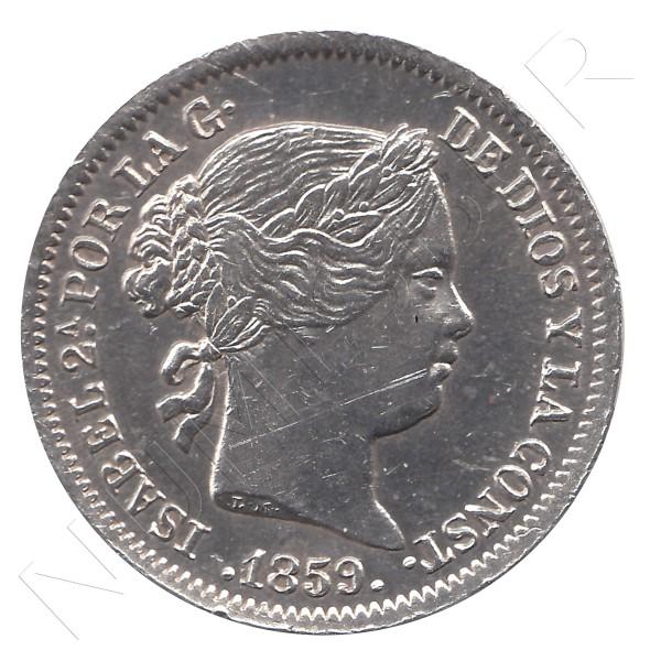 1 real ESPAÑA 1859 - Isabel II MADRID #32