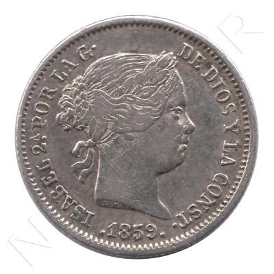 1 real ESPAÑA 1859 - Isabel II MADRID #44