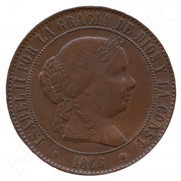 5 centimos escudo ESPAÑA 1866 - Isabel II BARCELONA #67