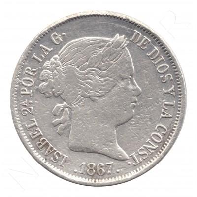 40 centimos escudo ESPAÑA 1867 - Isabel II MADRID #88