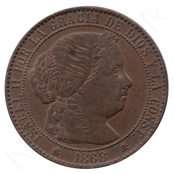 1 centimo escudo ESPAÑA 1868 - Isabel II BARCELONA #64