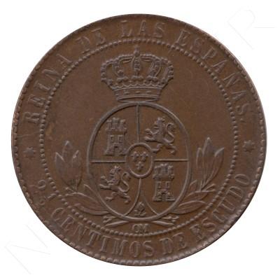 2,5 centimos de escudo ESPAÑA 1868 - ISABEL II SEVILLA #90